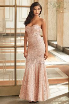 Lipsy VIP Bandeau Fishtail Lace Maxi Dress