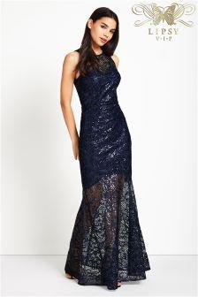 Lipsy VIP All Over Sequin Fishtail Maxi Dress