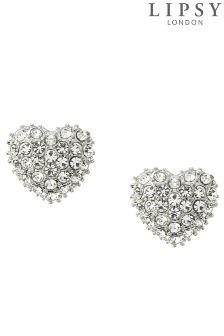 Lipsy Pave Heart Stud Earrings