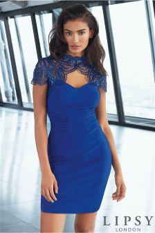 Lipsy Foiled Shoulder Trim Bodycon Dress