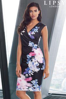 Lipsy Wrap Floral Print Bodycon Dress