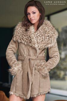 Lipsy Love Michelle Keegan Faux Fur Collar And Cuffs Coat