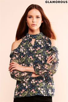 Glamorous Cold Shoulder Printed Blouse