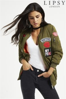 Lipsy Badge Long Line Bomber Jacket
