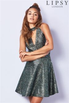 Lipsy Metallic Choker Skater Dress