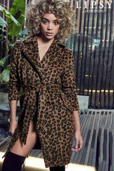 Lipsy Animal Print Wool Coat