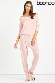 Boohoo Slash Neck Lounge Jumpsuit