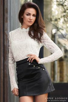 Lipsy Love Michelle Keegan Embroidered Mesh Scallop Hem Top