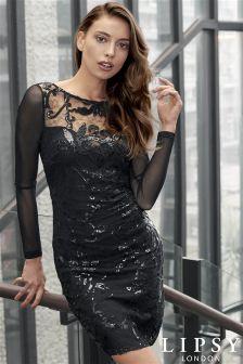 Lipsy Long Sleeve Sequin Bodycon Dress
