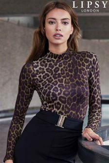Lipsy Animal Print Roll Neck Body