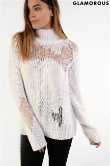 Glamorous Distressed Knit Jumper