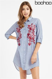 Boohoo Embroidered Front Pinstripe Shirt