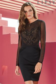 Lipsy Long Sleeve Embroidered Artwork Bodycon Dress