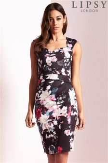 Lipsy Print Sweetheart Bodycon Dress