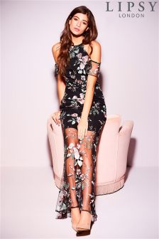 Lipsy Floral Embroidered High Neck Maxi Dress