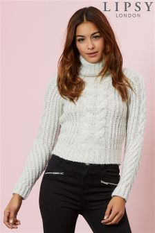 Lipsy Cable Knitted Crop Jumper
