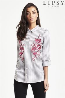 Lipsy Embroidered Stripe Shirt