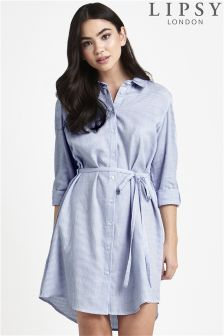 Lipsy Cold Shoulder Stripe Shirt Dress
