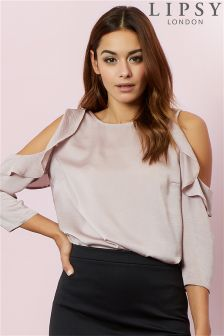 Lipsy Ruffle Cold Shoulder Top