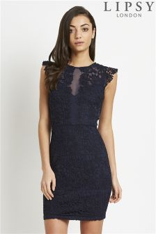 Lipsy Love Michelle Keegan Frill Sleeve Lace Bodycon Dress