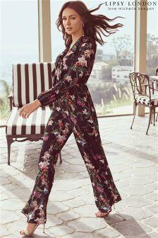 Lipsy Love Michelle Keegan Tie Front Wide Leg Jumpsuit