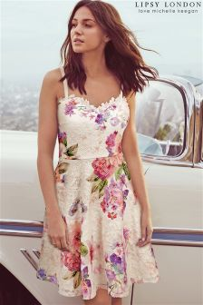 Lipsy Love Michelle Keegan Petite Lace Floral Skater Dress