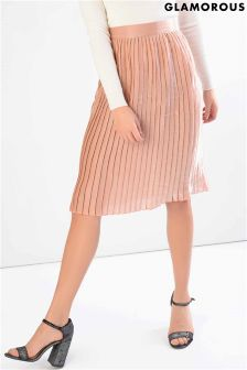 Glamorous Metallic Pleated Midi Skirt
