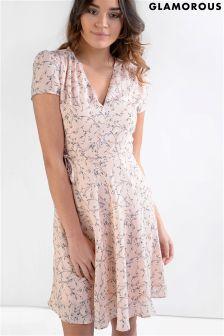 Glamorous Belted Printed Tea Dress