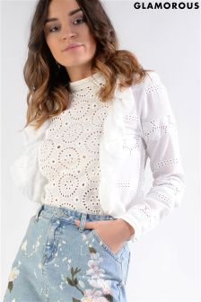 Glamorous Embroidered Ruffle Top
