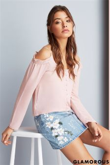 Glamorous Floral Painted Denim Skirt