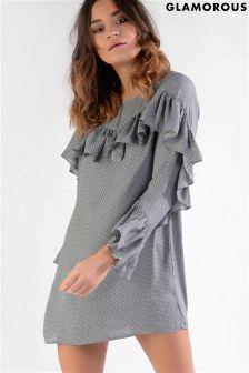 Glamorous Petite Printed Frill Detail Dress