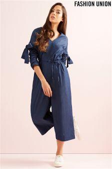 Fashion Union Bow Sleeve Jumpsuit