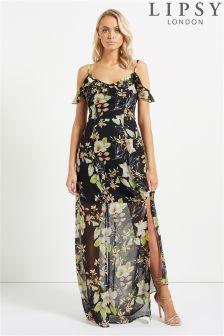 Lipsy Floral Cold Shoulder Ruffle Maxi Dress