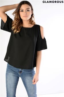 Glamorous Cold Shoulder Frill Sleeve Top