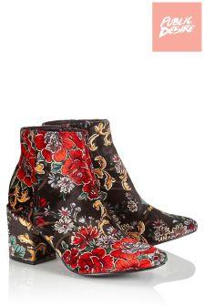 Public Desire Floral Velvet Ankle Boots