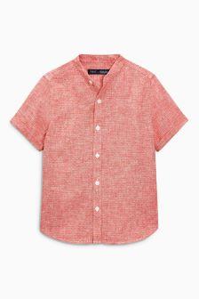 Kraagloos overhemd met korte mouwen en ingeweven motief (3-16 jr)
