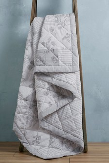 Grey Printed Patchwork Quilted Throw