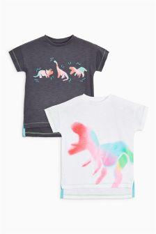 Spray Dinosaur Short Sleeve T-Shirts Two Pack (3mths-6yrs)