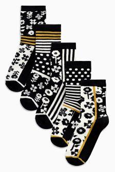 Floral Stripe Ankle Socks Five Pack