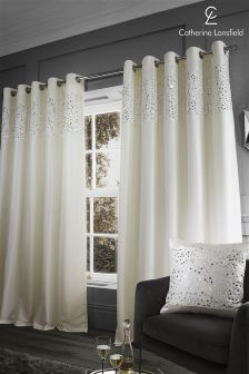 Catherine Lansfield Glitzy Eyelet Curtains