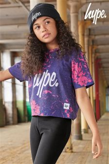 Hype Navy And Pink Floral Crop Tee