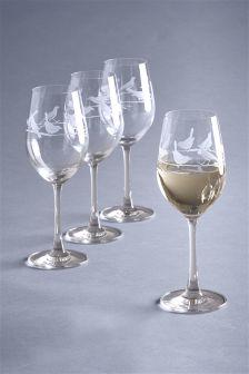 Set Of 4 Song Bird Wine Glasses