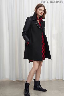 French Connection Black Amanda PU Trench Coat