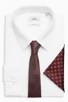 Shirt With Burgundy Tie And Pocket Square Set