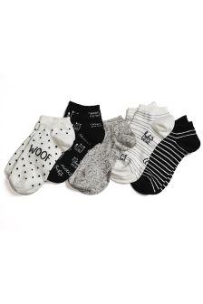 Dog Pattern Trainer Socks Five Pack