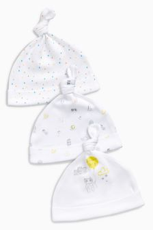 Delicate Print Tie Top Hats Three Pack (0-12mths)