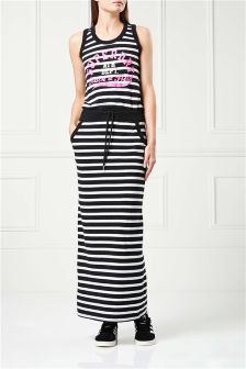 Exclusive To Label Superdry Black/White Stripe Track Field Maxi Dress