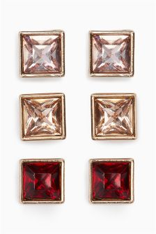 Mixed Coloured Square Stud Pack