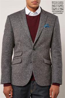 Коллекционный приталенный пиджак из британской шерсти