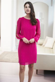 Long Sleeve Heatseal Ruffle Dress